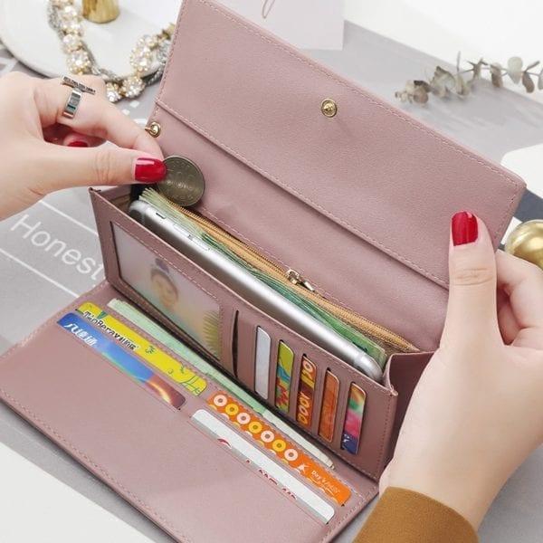New Fashion Women Wallets Long Style Multi functional wallet Purse Fresh PU leather Female Clutch Card 4