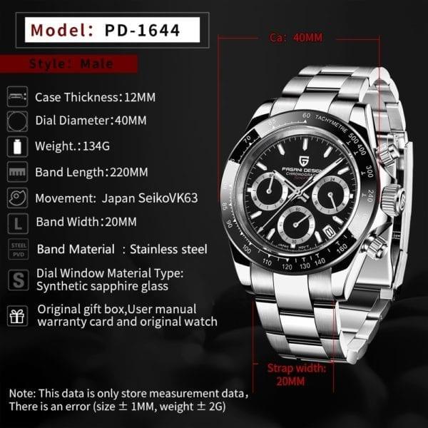 New PAGANI Series Classic Black Dial Luxury Men quartz Watches Stainless Steel 100m Waterproof Mechanical Watch 1