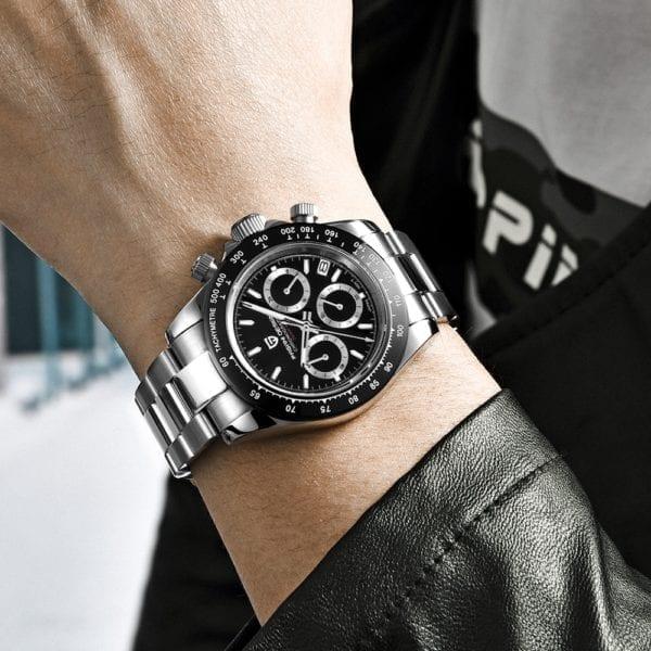New PAGANI Series Classic Black Dial Luxury Men quartz Watches Stainless Steel 100m Waterproof Mechanical Watch 3