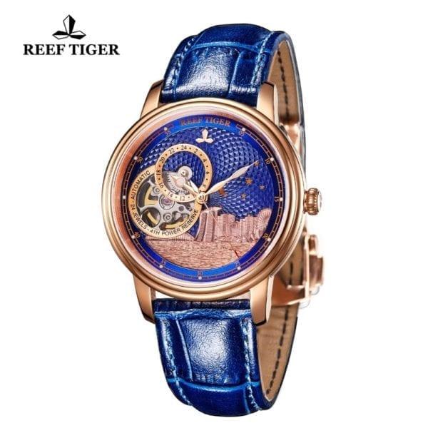 Reef Tiger RT Blue Tourbillon Automatic Watch Luxury Fashion Watch for Women Men Unisex Watches 2019 1