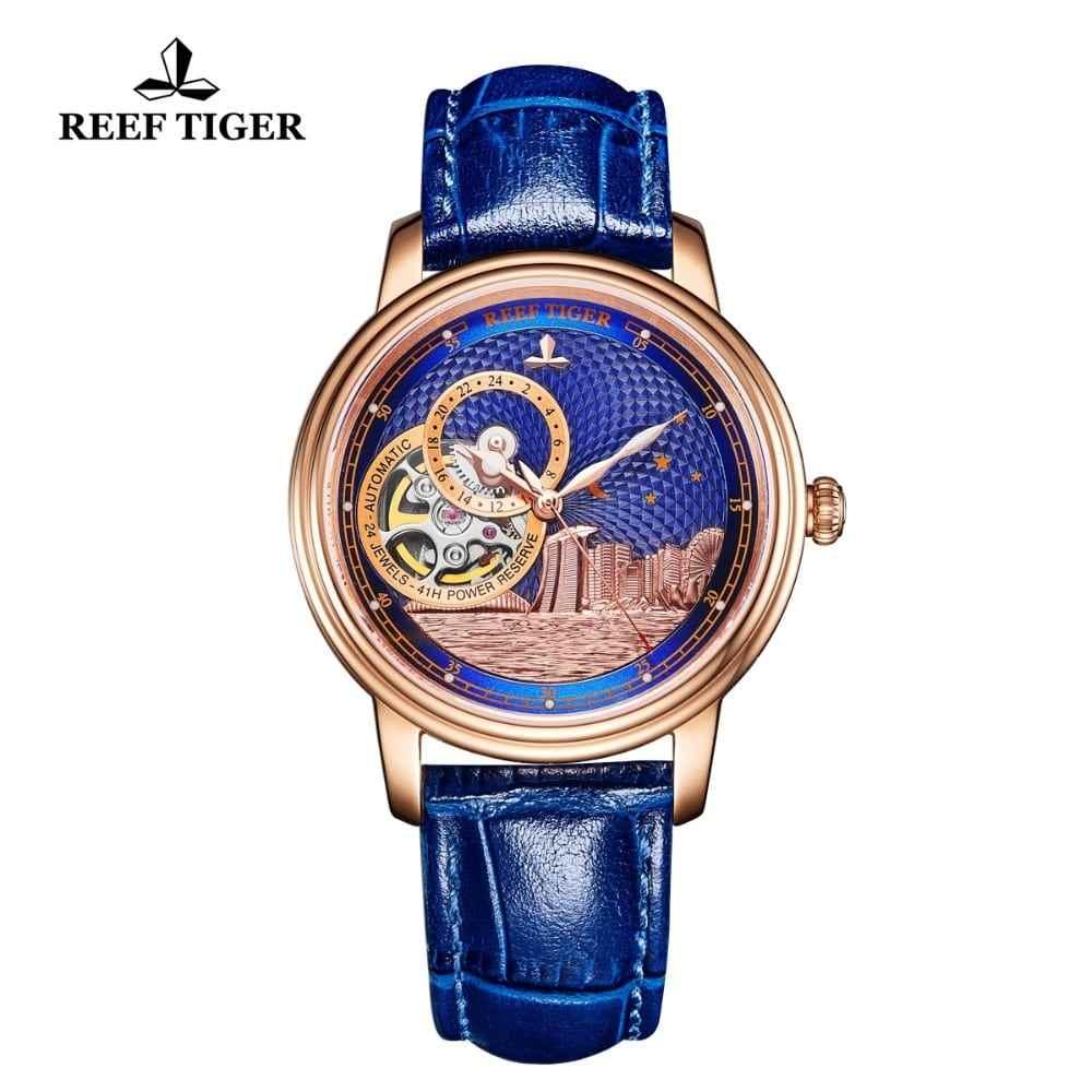 Reef Tiger RT Blue Tourbillon Automatic Watch Luxury Fashion Watch for Women Men Unisex Watches 2019