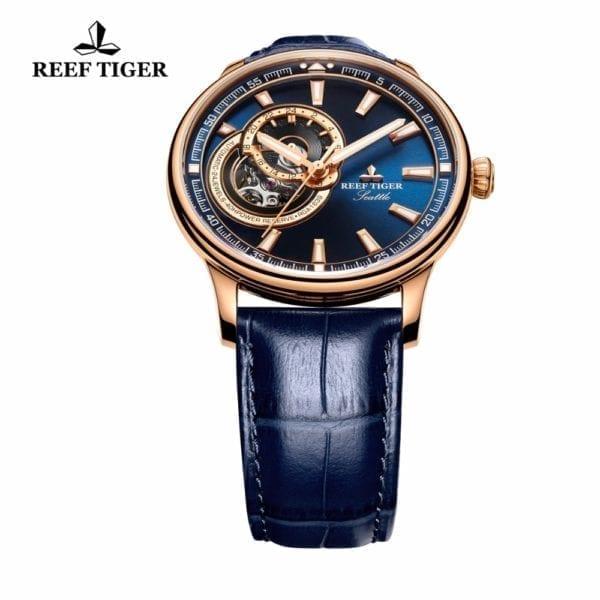 Reef Tiger RT Dress Men Watch Blue Tourbillon Watches Top Brand Luxury Automatic Mechanical Watch Relogio 11