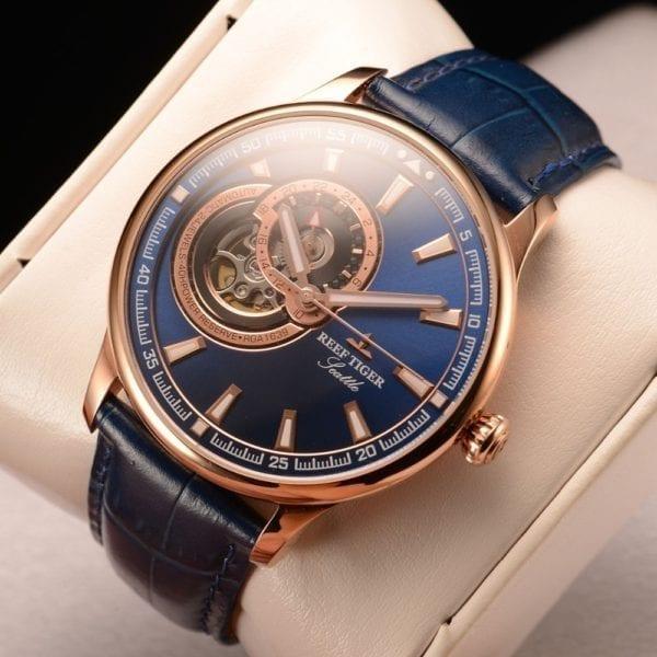 Reef Tiger RT Dress Men Watch Blue Tourbillon Watches Top Brand Luxury Automatic Mechanical Watch Relogio
