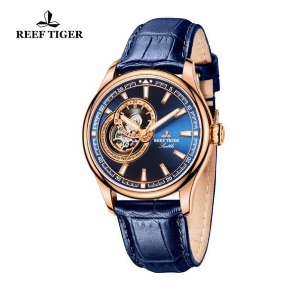 Reef Tiger RT Dress Men Watch Blue Tourbillon Watches Top Brand Luxury Automatic Mechanical Watch Relogio 9