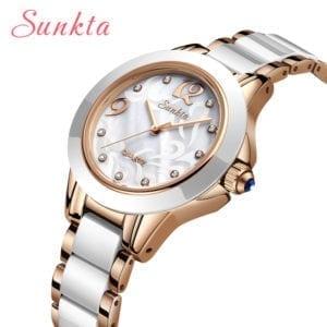Relogio Feminino SUNKTA Fashion Women Watches Ladies Bracelet Watch Casual Ceramics Quartz Wristwatches Clock waterproof watch
