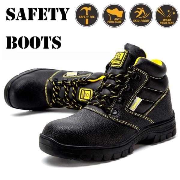 Shoes men work boots winter warm outdoor steel toe cap anti smashing anti piercing outdoor lace 6