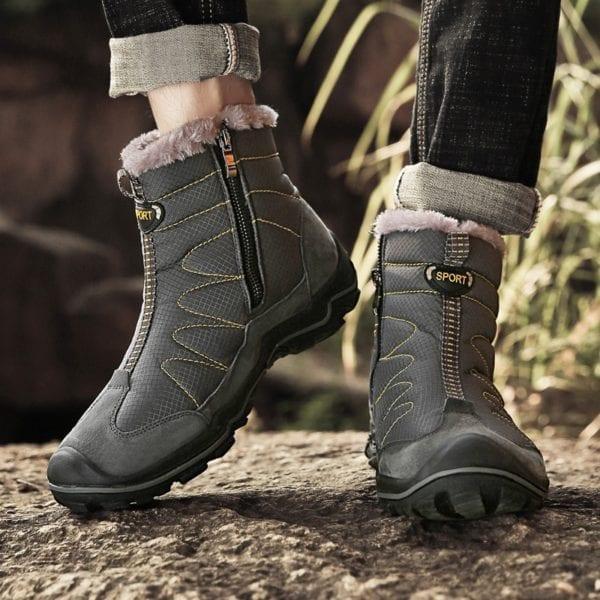 Snow Boots for Men Plush Waterproof Slip Men Boots Platform Thick Resistant Winter Shoes Plus Size 1