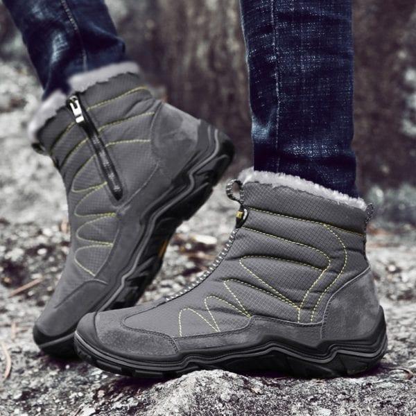 Snow Boots for Men Plush Waterproof Slip Men Boots Platform Thick Resistant Winter Shoes Plus Size 3