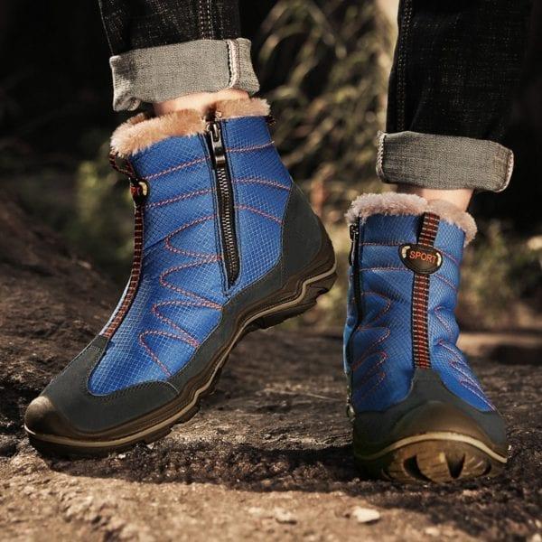 Snow Boots for Men Plush Waterproof Slip Men Boots Platform Thick Resistant Winter Shoes Plus Size 5