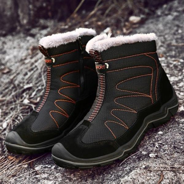 Snow Boots for Men Plush Waterproof Slip Men Boots Platform Thick Resistant Winter Shoes Plus Size