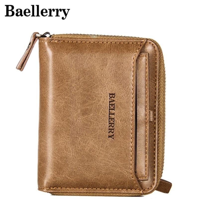 Vintage Men Wallet Small Purse Male Leather Wallets Coin Pocket Men Zipper Purses Card Holder Money