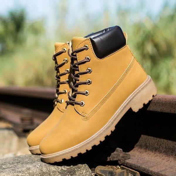 Winter boots men shoes hot warm plus fur winter snow boots work shoes men pu leather 6