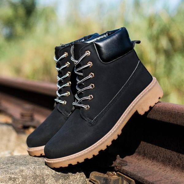 Winter boots men shoes hot warm plus fur winter snow boots work shoes men pu leather 8