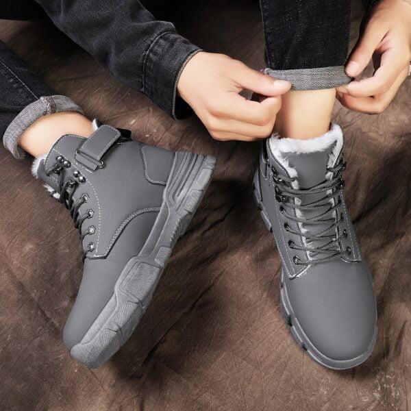 Autumn Winter Boots Men Warm Casual Shoes Plus Velvet Sneakers PU Male Zapatillas Hombre Men Boots 1