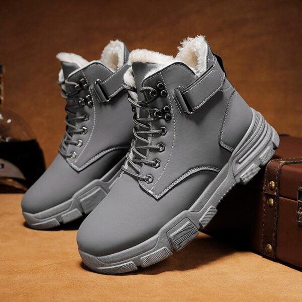 Autumn Winter Boots Men Warm Casual Shoes Plus Velvet Sneakers PU Male Zapatillas Hombre Men Boots 2