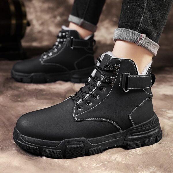 Autumn Winter Boots Men Warm Casual Shoes Plus Velvet Sneakers PU Male Zapatillas Hombre Men Boots 3