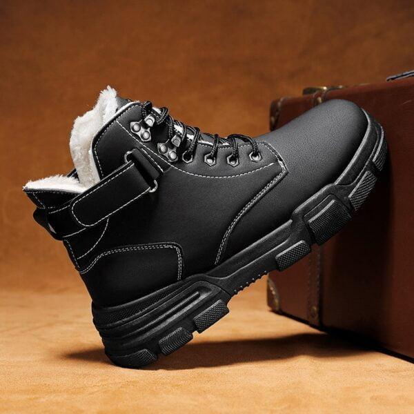Autumn Winter Boots Men Warm Casual Shoes Plus Velvet Sneakers PU Male Zapatillas Hombre Men Boots 4