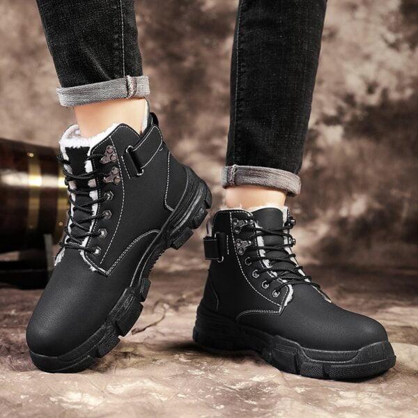 Autumn Winter Boots Men Warm Casual Shoes Plus Velvet Sneakers PU Male Zapatillas Hombre Men Boots 5
