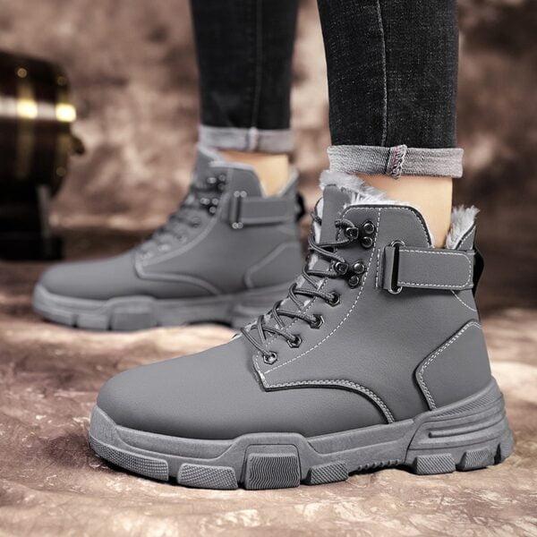 Autumn Winter Boots Men Warm Casual Shoes Plus Velvet Sneakers PU Male Zapatillas Hombre Men Boots