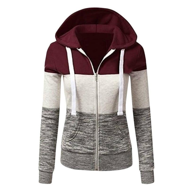 Women Zip Up Hooded Jacket Autumn Winter Patchwork Loose Sweatshirt Coat Fashion Oversize Long Sleeve Drawstring