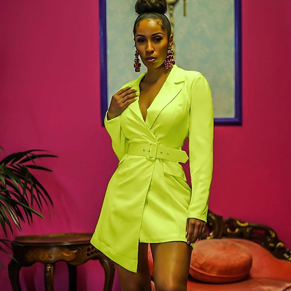 2019 Autumn Fashion Suits Notched Neck Blazer Wear To Work Jacket Lime Neon Colour Coat irregular