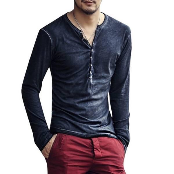 2020 Men Tee Shirt V neck Long Sleeve Tee Tops Stylish Slim Buttons T shirt Autumn 1