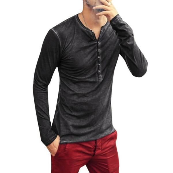 2020 Men Tee Shirt V neck Long Sleeve Tee Tops Stylish Slim Buttons T shirt Autumn 2