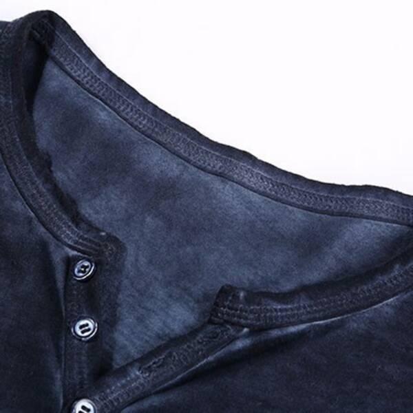 2020 Men Tee Shirt V neck Long Sleeve Tee Tops Stylish Slim Buttons T shirt Autumn 3