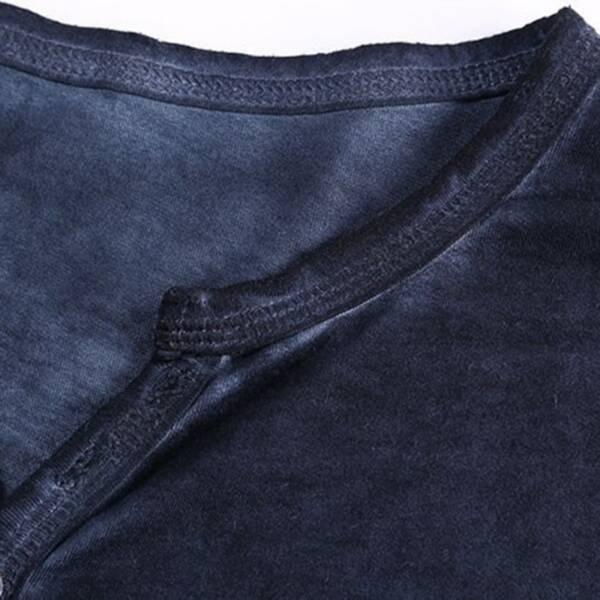 2020 Men Tee Shirt V neck Long Sleeve Tee Tops Stylish Slim Buttons T shirt Autumn 4