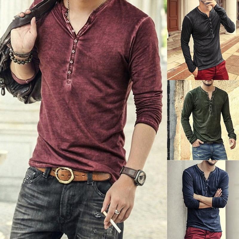 2020 Men Tee Shirt V neck Long Sleeve Tee Tops Stylish Slim Buttons T shirt Autumn
