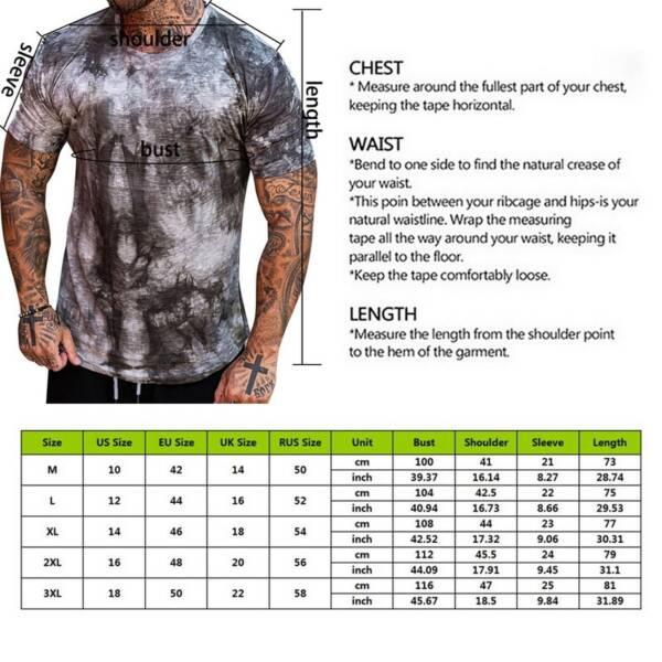 2021 Summer Fashion Do old printing Men Gradient Color Short Sleeve Round Neck T Shirt Slim 5