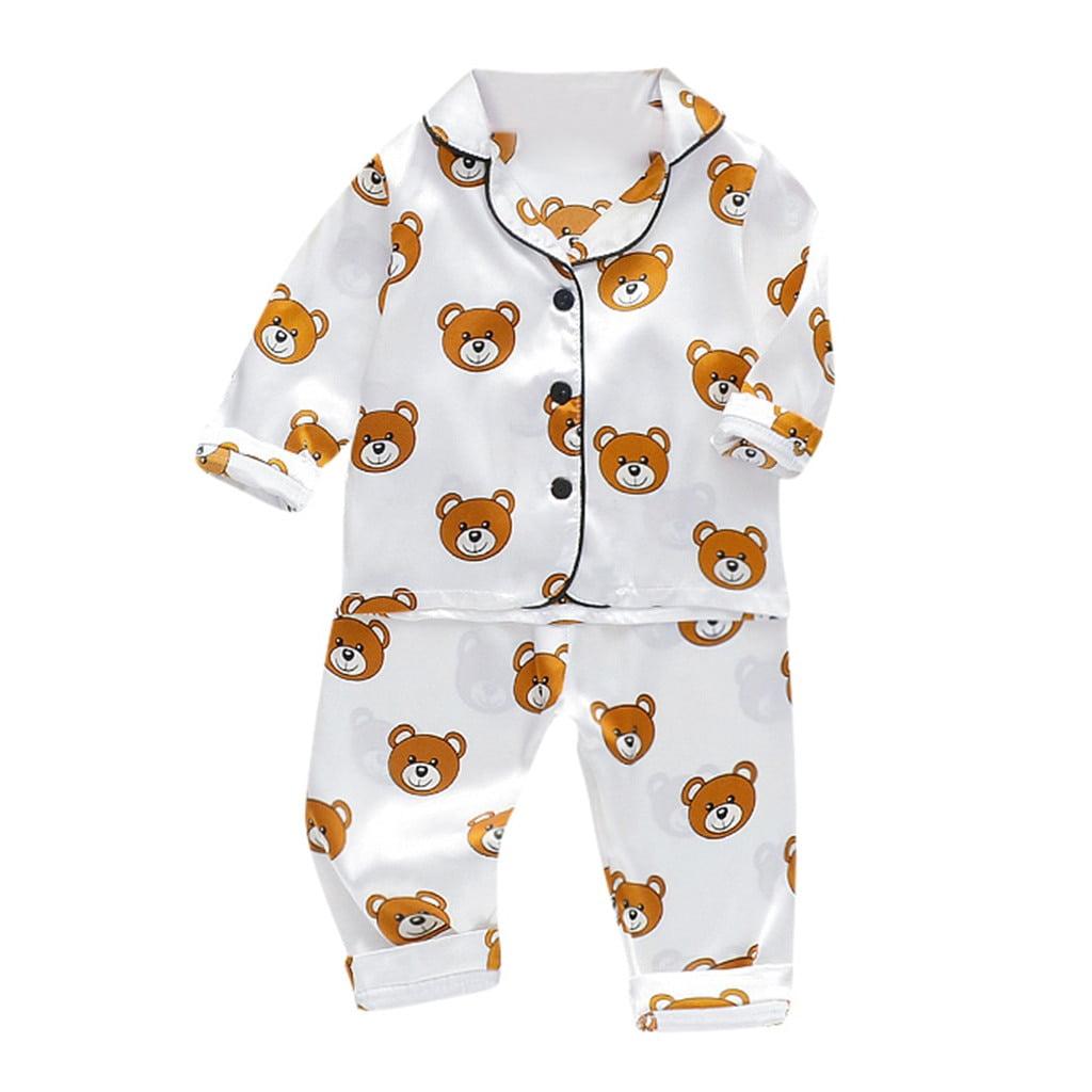 2021 Toddler Baby Boys Sleepwear Infant Clothing Long Sleeve Cartoon Bear Tops Pants Pajamas Sleepwear Casual