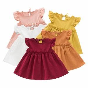 2021New Baby Girl Dresses A line Dress Toddler Kids Baby Girls Ruffle Solid Linen Elegant Princess 6
