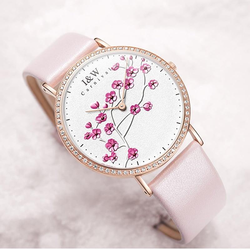 Carnival Brand Women Watches Ladies Fashion Unique Luxury Ultra Thin Sapphire Casual Leather Quartz Wristwatch Reloj