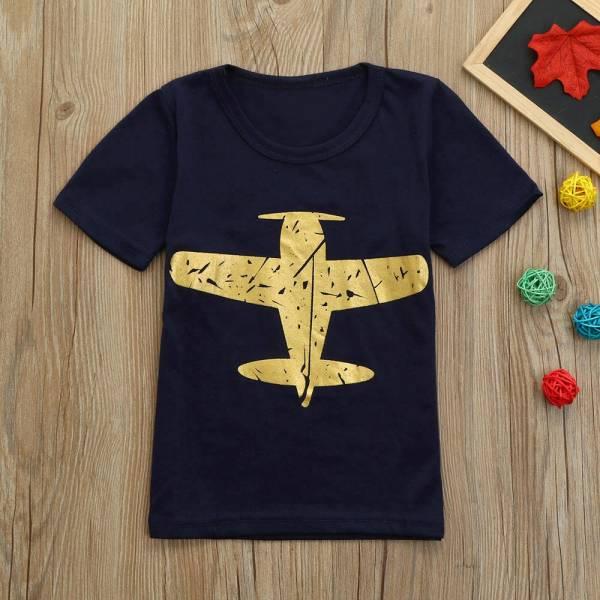Children Summer Boys Kids Airplane Print Short Sleeve Tops Toddler Baby Cute T Shirt Newborn Infant
