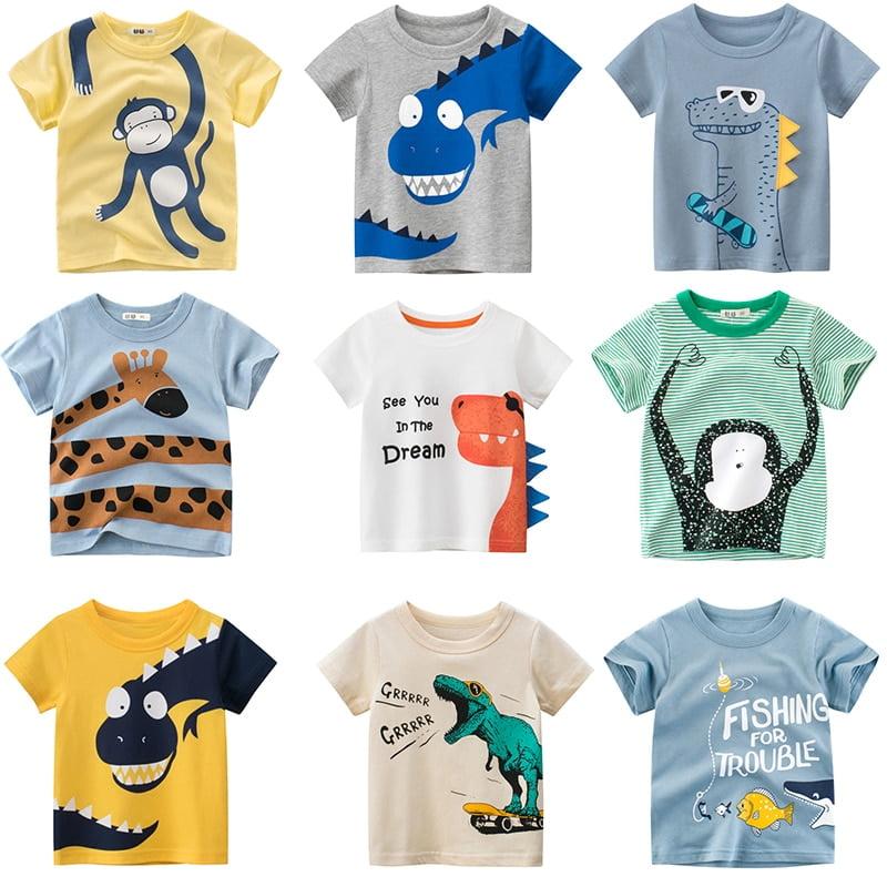 Children s Summer T Shirts Toddler Boys Cartoon Dinosaur Print Tops Graphic Clothes 1