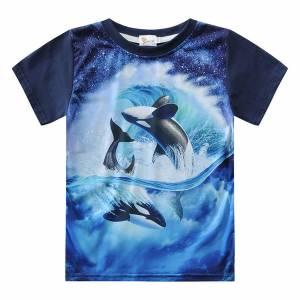 Fashion Cotton Soft Baby Boys Tops Cartoon Dolphin Printing Animal T shirts Toddler Kids O neck