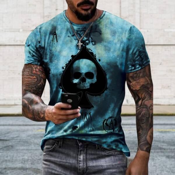 Jodimitty 2021 Summer T Shirt Men Casual Short Sleeve Shirt Men Clothing Streetwear Skull Print Graphic 1
