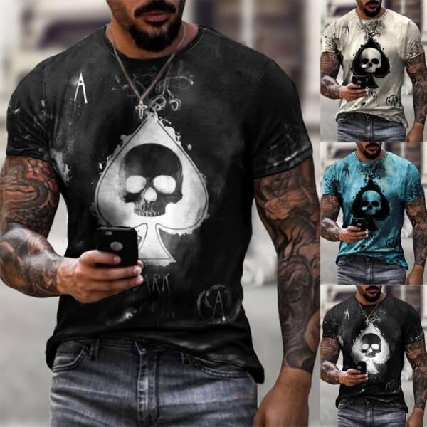 Jodimitty 2021 Summer T Shirt Men Casual Short Sleeve Shirt Men Clothing Streetwear Skull Print Graphic 3