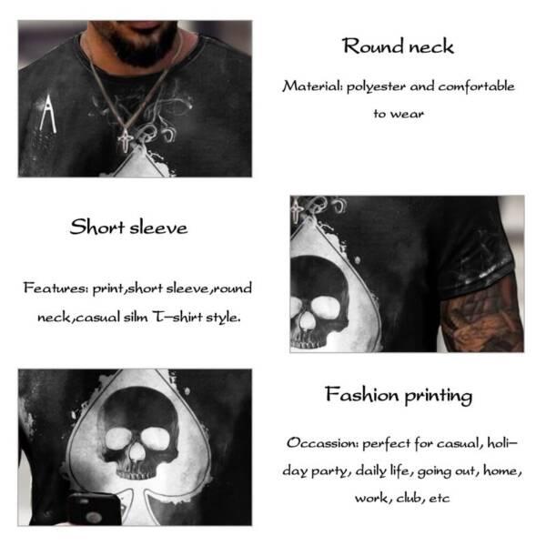 Jodimitty 2021 Summer T Shirt Men Casual Short Sleeve Shirt Men Clothing Streetwear Skull Print Graphic 4