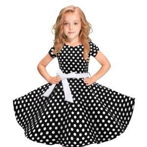 Kids Girls Vintage Dress Causual Children dresses Polka Dot Princess Swing Rockabilly Party Dresses Gentleman dress