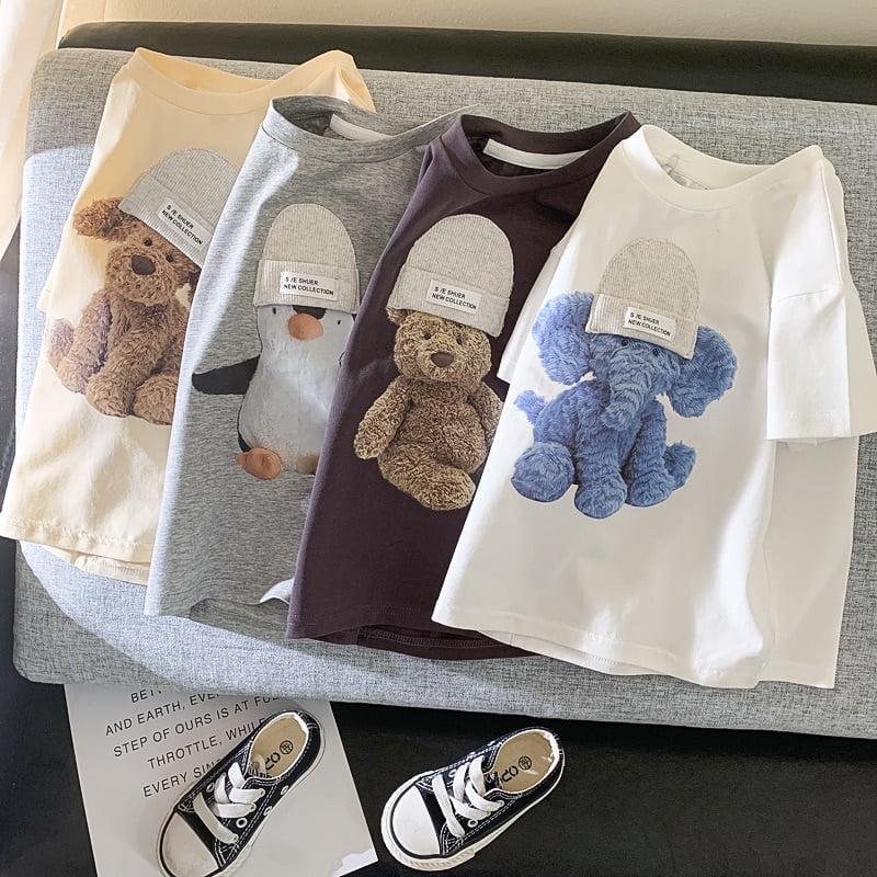 MILANCEL 2021 Summer New Kids T shirt Cute Animal Girls Tees Short Sleeve Cotton Boys Tops
