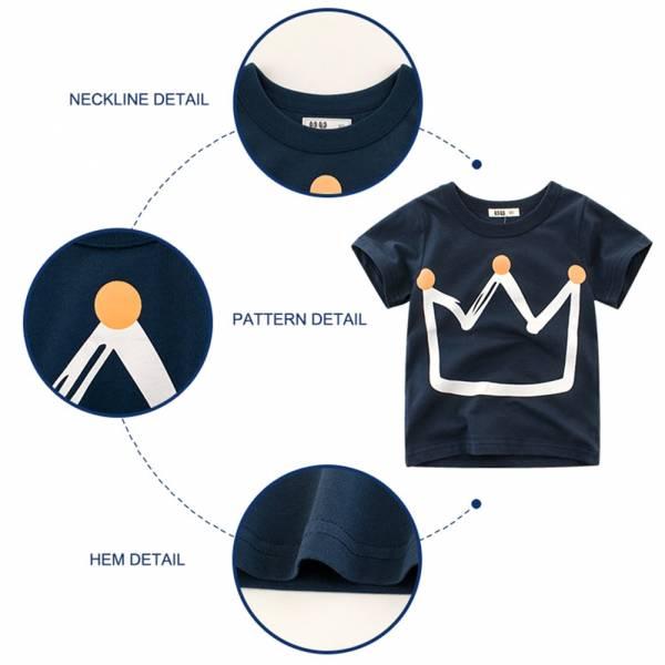 Pudcoco Fast Shipping Summer Kid Boys Fashion Crown Printed Pullover Short Sleeves Children Cartoon T shirt 1