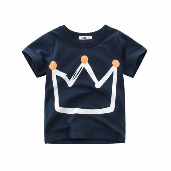 Pudcoco Fast Shipping Summer Kid Boys Fashion Crown Printed Pullover Short Sleeves Children Cartoon T shirt 2
