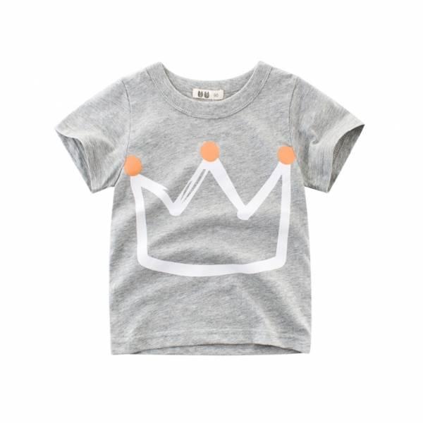 Pudcoco Fast Shipping Summer Kid Boys Fashion Crown Printed Pullover Short Sleeves Children Cartoon T shirt 5