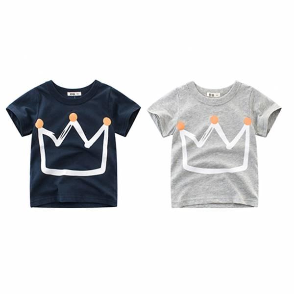 Pudcoco Fast Shipping Summer Kid Boys Fashion Crown Printed Pullover Short Sleeves Children Cartoon T shirt