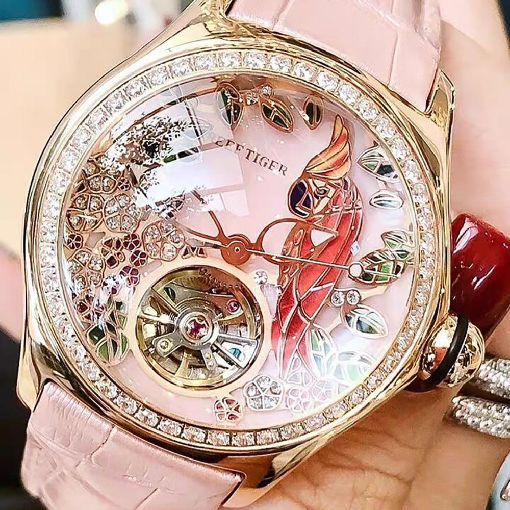 Reef Tiger 2021 Diamonds Fashion Watches Women Steel Genuine Leather Strap Automatic Analog Watches Waterproof RGA7105