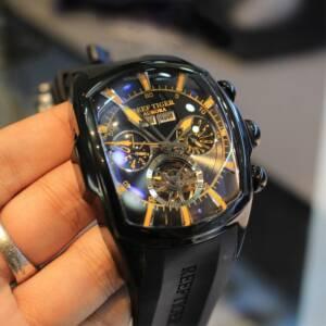 Reef Tiger RT Top Brand Luxury Big Watch for Men Blue Dial Mechanical Tourbillon Sport Watches