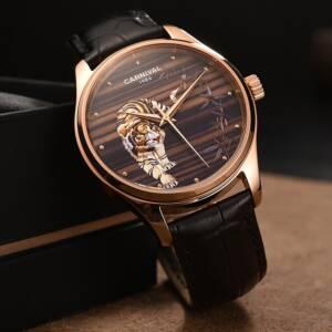Relogio Masculino Carnival Brand Luxury Automatic Watch Mens Fashion 3D Tiger Rose Gold Mechanical Wristwatch Clock