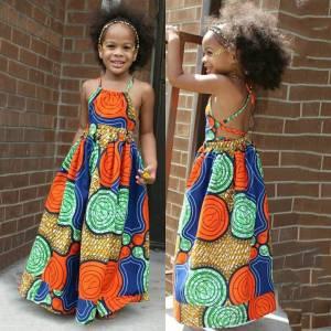 Summer African Girls Dress Kids Girls African Dashiki 3D Digital Print Suspenders Princess Dress Beach Casual
